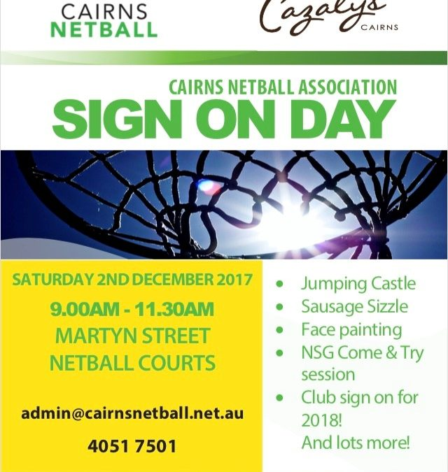 Cairns Netball Sign on day + Craft Market Stalls